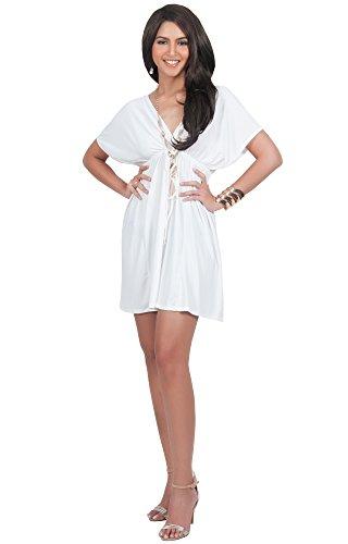 KOH KOH Plus Size Womens Caftan Kaftan V-Neck Beach Summer Kimono Short Sleeve Sexy Cover Up Cute Sundress Sundresses Sun Day Tunic Mini Dress Dresses, Ivory White 2XL 18-20