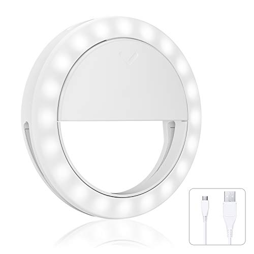 Selfie Ring Light Small Ring Light for Laptop, Rechargeable 3 Light Modes Makeup Fill Light Selfie Light Ring Clip for Cell Phone Computer Tablet Camera Photography Live Stream Video Lighting Clip