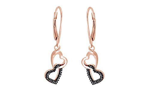 (Black Natural Diamond Accents Double Heart Dangle Earrings In 14K Rose Gold Over Sterling Silver)