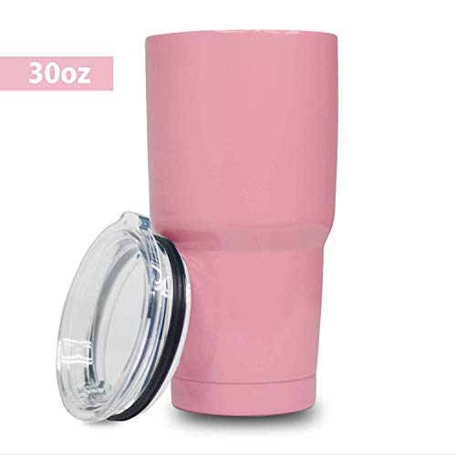 5 Star Stuff 30 oz Tumbler, 100% Stainless Steel Double Wall Vacuum Insulated Cup with Lid - Pink