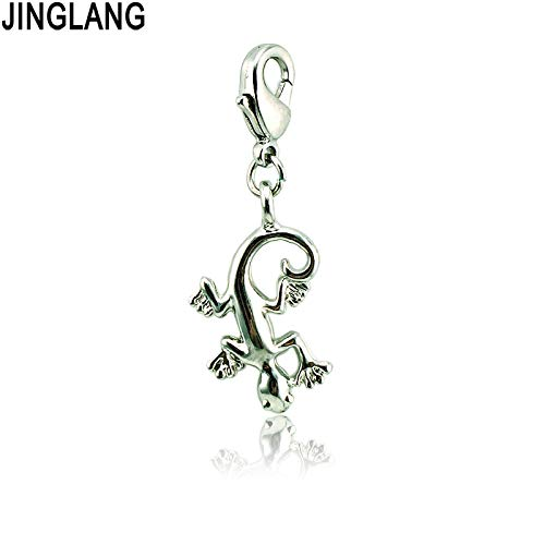 Charms - DIY Retail Fashion Metal Silver Slide Dangle Gecko Pendant Lobster Clasp Charm for Jewelry Accessories - by Mct12-1 PCs