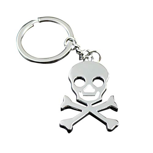 YeahiBaby Skull and Crossbones Pendant, Silver Keychain