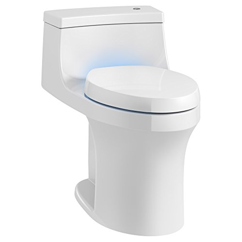 KOHLER K-8687-0 San Souci Touchless Comfort Height 1.28 Gpf Compact Elongated Toilet with Aquapiston Flush Technology and Purefresh Seat, White - Kohler Touchless Toilet