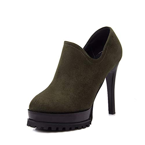 Shoes 12Cm Thick Green In Table Mosaic Deep Mouthpiece Women'S KPHY Zipper Autumn Waterproof Shoes Heels Frosted Single Sole Side Thirty High Five Suede qfSEZwCH