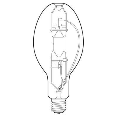 Multi-Vapor Quartz Metal Halide Lamp, 400 watt, 540 volt, ED37, Mogul Screw (E39) Base, Clear