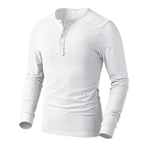 Derminpro Men's Premium Cotton Slim Fit Henley Long Sleeve T-Shirts White Large