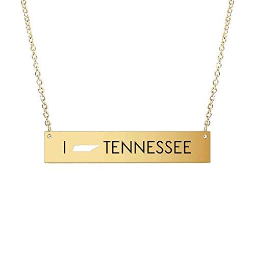 USA State Engraved Simple Horizontal Bar Pendant Necklace - Map Cutout Plate Delicate Chain Alabama/Arkansas/Florida/Georgia/Kentucky/Louisiana/Carolina/Oklahoma/Missouri/Texas (Tennessee - Gold)