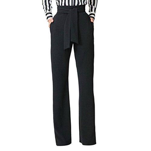 GUOLEZEEV Womens High Waisted Long Palazzo Pants Wide Leg Trousers Waist Belt