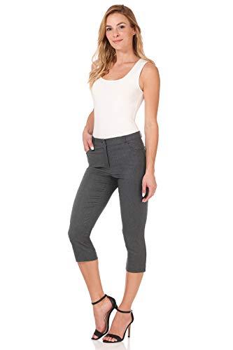 (Rekucci Women's Iconic Comfort Stretch 5 Pocket Slim Fit Skinny Capri w/Zipper (8,Charcoal))