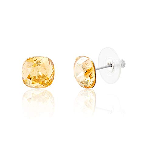 Devin Rose Cushion Solitaire Stud Earrings for Women in Stainless Steel made with Swarovski Crystals (Golden Yellow Color)