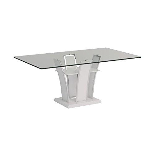 High Gloss Black Glass White Legs Designer Rectangle: Furniture Of America Priscilla Rectangular Tempered Glass