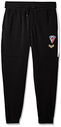 Southpole Men's Big and Tall Active Basic Jogger Fleece Pants, Black(Patch), (Big Tall Activewear)