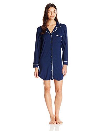 Eberjey Women's Gisele Sleep Shirt, Navy/Ivory, Small