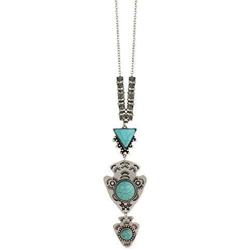 Zad Know Your Way Turquoise and Arrowhead Long Pendant ()