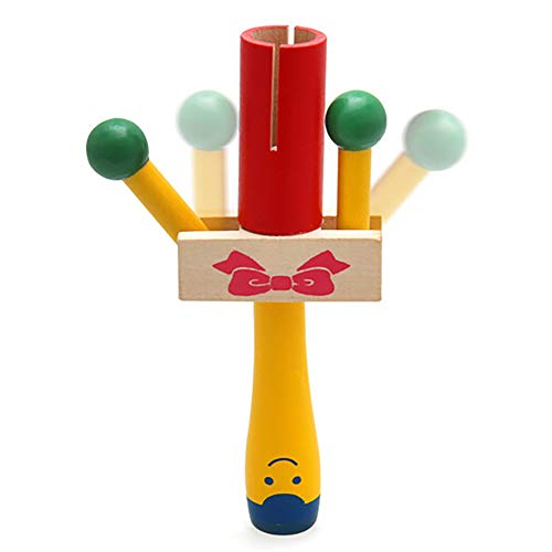 millet16zjh Shaker Toy,Wooden Handheld Rattle Shaker Percussion Musical Instrument Education Kids Toy