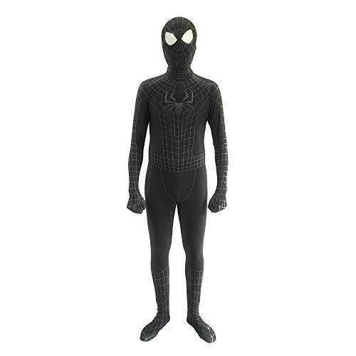 Ling Bultez Muscle Shade Black Spiderman Costume Black Raimi Spider Man Spandex (Kids-L, Black) ()