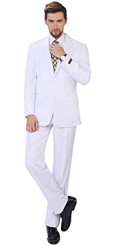 (P&L Men's 2-Piece Classic Fit Single Breasted 2 Buttons Blazer & Trousers Suit White)
