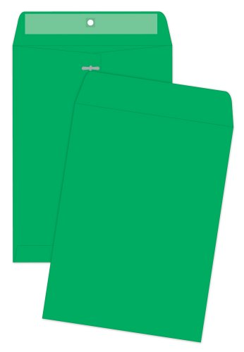 Quality Park Clasp Envelopes, 9 x 12 inches, Green, Pack of 10 (38735)