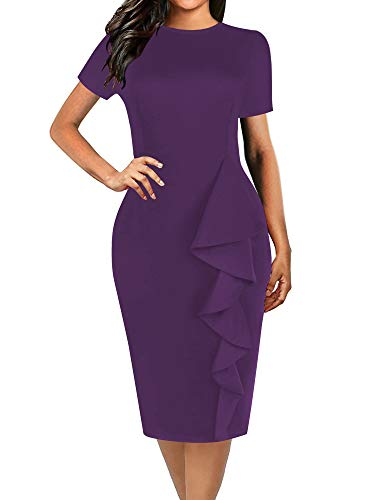 oxiuly Women's Elegant Stretchy Lotus Leaf Hem Work Party Sheath Knee Length Dress OX055 (M, Purple Solid)