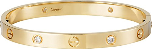 jewelry palace Cartier Style Love Bracelet Replica 14K Yellow Gold Round Cut 4 Diamonds Engagement (18k Vs1 Bracelet)