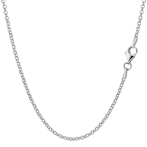 Sterling Silver Rhodium Plated Rolo Chain Necklace, 1.4mm, 16