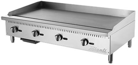 Migali C-G48 48'' Competitor Series Commercial Natural Gas Griddle with 4 Burners Manual Ignition Stainless Steel Construction and Removable Waste Tray in Stainless