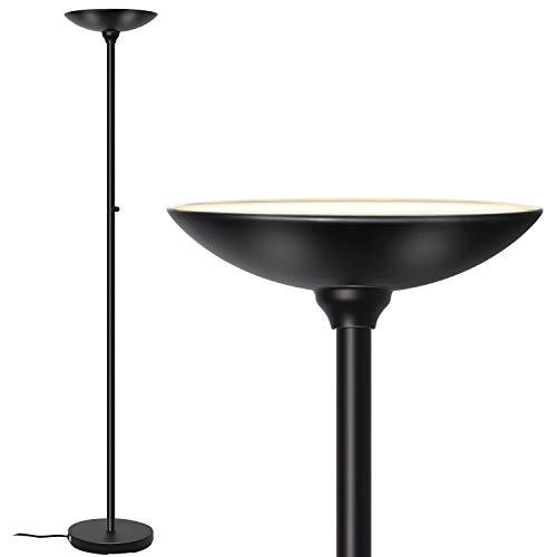 SUNLLIPE LED Torchiere Floor Lamp 24W Bright Dimmable Reading Modern Tall Standing Pole Torch Light for Living Rooms, Bedrooms, Offices, Jet Black