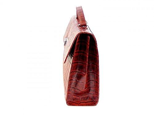 Pavini Damen Tasche Überschlagtasche Croco Echt-Leder rot 15289 Handyfach