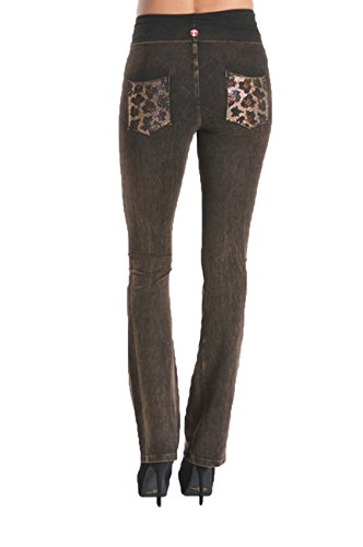 T Party Fold Over Or Elastic Waist Lace Bell Bottom New Yoga Pants Pick Style. (Small, Brown)