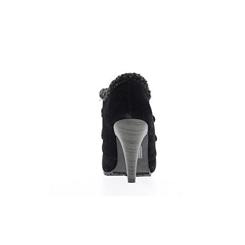 Richelieux nero donna a tacchi di 9cm aspetto scamosciato