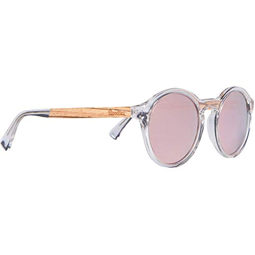 d7697d641ea03 WOODIES Clear Acetate Round Sunglasses with Polarized Blue Lens in Wood  Display Box (Pink)