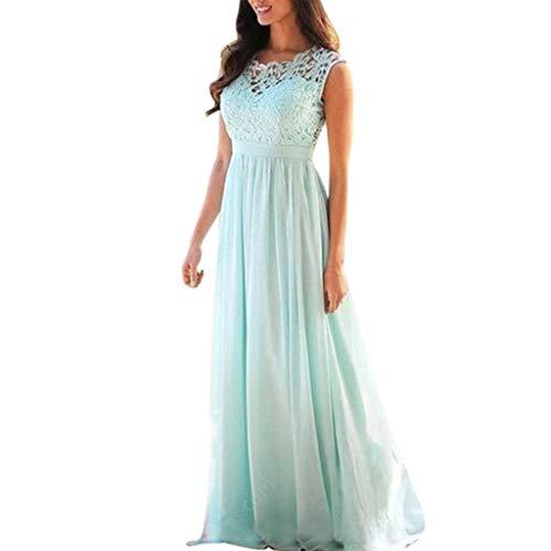 QIQIU Women's Elegant Coral Bridesmaid Lace Applique Backless Sleeveless Wedding Guest Long Dress Green