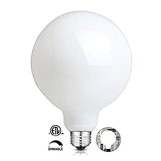 15W Dimmable LED Large Globe Bulb 5000K Daylight White, 85W Equivalent 850LM E26 Base, Antique Edison G125 Large Milky Pearl Opal White Glass LED Filament Light Bulbs, Smooth Dimming Version