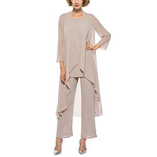 3 Piece Mother of The Bride Outfit Pants Suits Chiffon Long Sleeve Dressy Pantsuits (Champange 16)