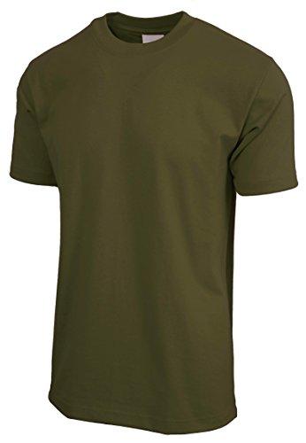 Solid L/s Tee - KS Mens Super Max T Shirt Heavyweight Solid Short Sleeve Tee S-5XL (Olive/L Tall)