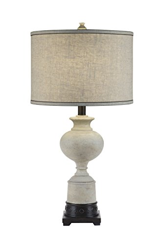 Catalina Lighting 20118-001 3-Way White Washed Trophy Table Lamp with a Natural Texture Linen Drum Shade with Cream Silken Liner, Bulb ()