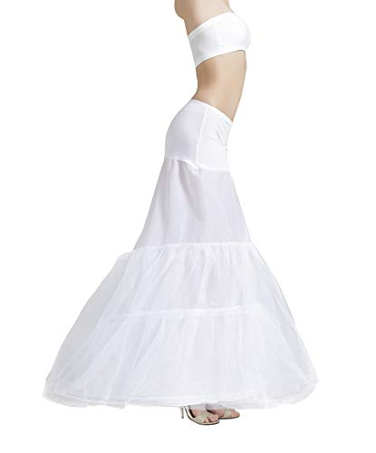 MISSYDRESS Floor-Length Dress Gown Slip Mermaid Fishtail Petticoat White S/M