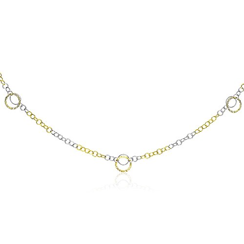 14K Two-Tone Gold Chain Necklace with Entwined Textured Ring Stations For Women, Simulated