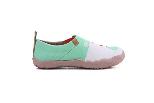 Uin Womens Love Voyage Mignon Toile Voyage Mocassins Chaussure Blanc Et Vert