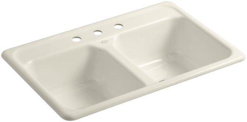 KOHLER K-5817-3-47 Delafield Self-Rimming Kitchen Sink, Almond (Self Rimming Almond)