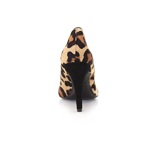 Safari Puntige Stiletto 9cm Luipaardbont Suede Echt Leer Binnenzool (uitlaat)