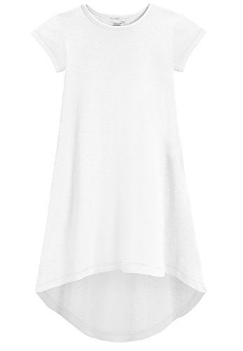 (City Threads Girls Jersey Short Sleeve Hi Lo Maxi Dress Top Blouse Shirt Stylish Modern All Cotton for Sensitive Skins, White,)