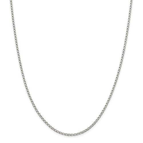 925 Sterling Silver 2.0mm Open Link Chain Necklace 24 Inch ()