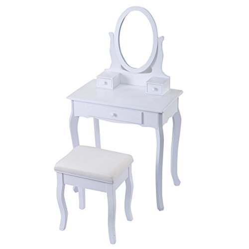 Giantex White Vanity Table Jewelry Makeup Desk Bench Dres...