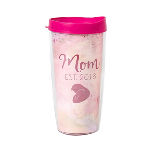 Mom Est 2018 Pink Blush Watercolor Wrap 16 Oz Travel Tumbler Mug with Lid