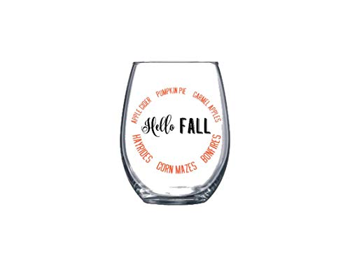 (Hello Fall Thanksgiving Harvest Autumn Stemless Wine Glass 21 oz. Multiple Color)