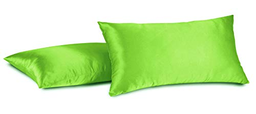 Aiking Home 100% Polyester Bridal Satin Luxury Pillowcases - Set of 2 Invisible Zipper Pillowcases - Machine Washable - (Standard 20x26 inch, Lime)