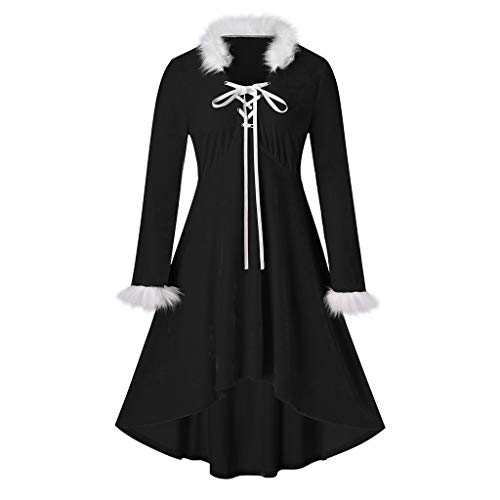 SEXYTOP Women Christmas Lace Up Solid Dress Long Sleeve Collar Cuff with Velvet Trim Heap Hi-Low Hem Plus Size Midi Dress Black
