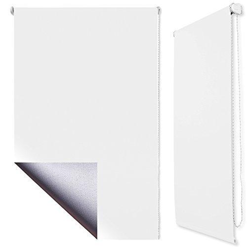 Thermo-Rollo 65 x 160 cm Klemmfix ohne Bohren Verdunkelung + Beschichtung Weiss + weitere Farben und Größen verfügbar