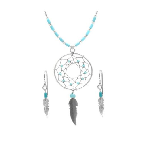 Dream Catcher Sterling Silver Turquoise Imitation Earrings and Necklace Set 18""